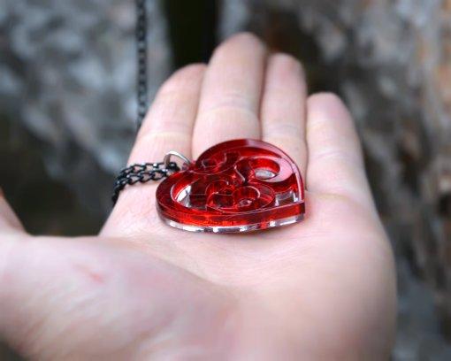 AUM red heart necklace pendant 2