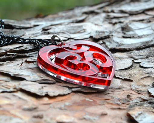 AUM red heart necklace pendant 4