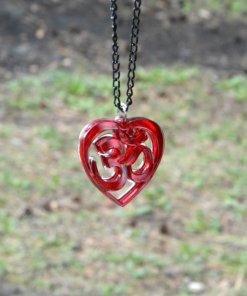 AUM red heart necklace pendant