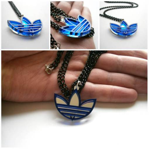 Adidas necklace blue acrylic6