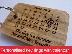 Personalised key rings with calendar