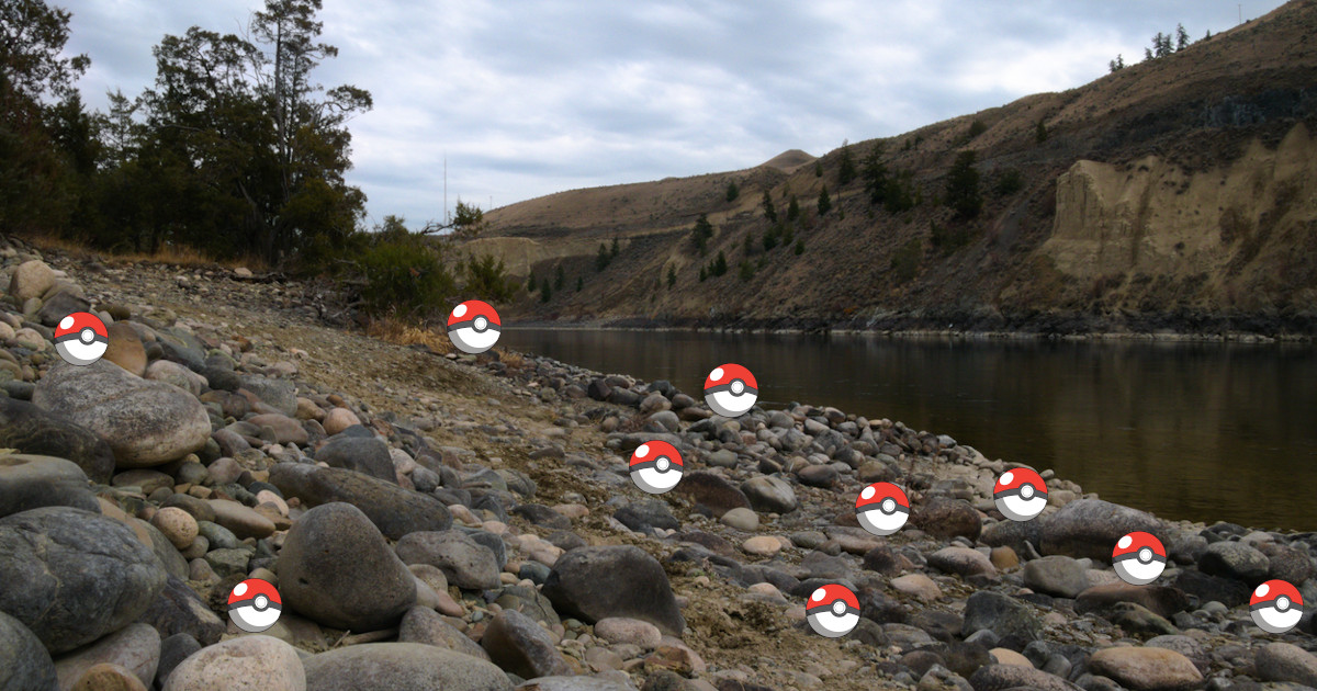 Single-use poké balls litter a riverbank