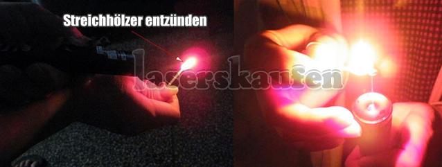 Laserpointer Rot Streichhölzer entzünden