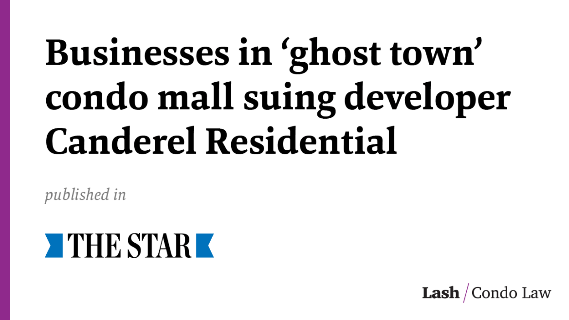 Businesses in 'ghost town' condo mall suing developer Canderel Residential