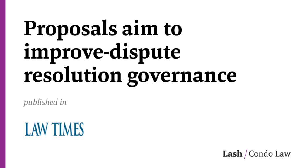 Proposals aim to improve-dispute resolution governance