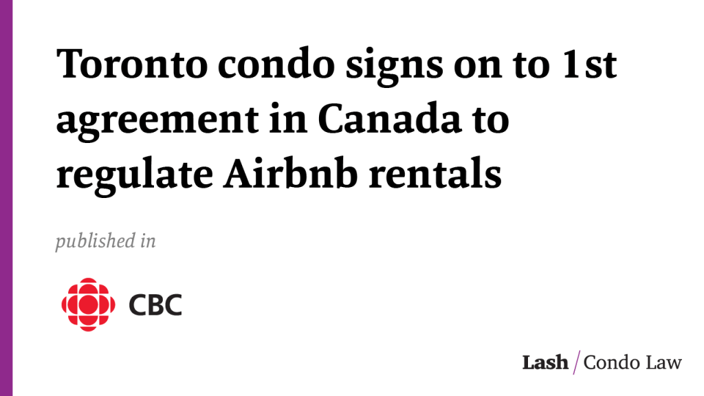 Toronto condo signs on to 1st agreement in Canada to regulate Airbnb rentals
