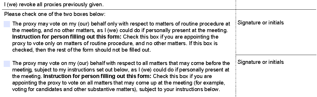 Proxy Form Boxes