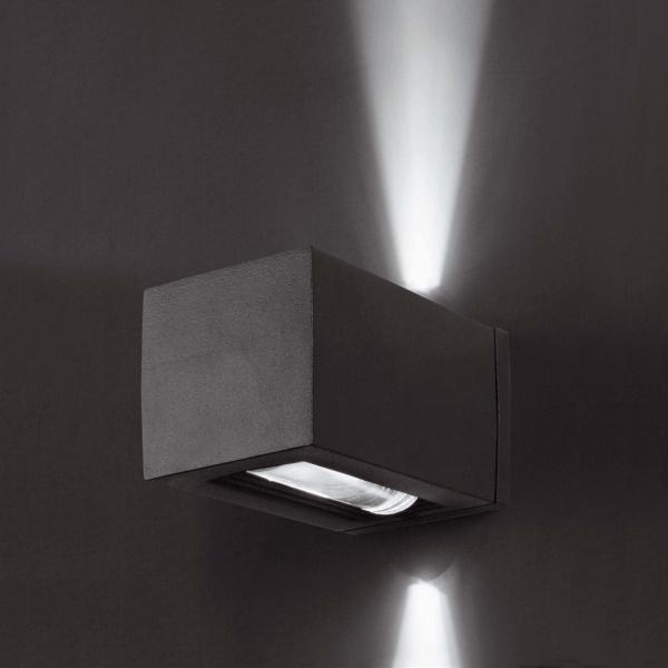 Baador de pared en gris oscuro con cristal ptico y halgena G9 28W