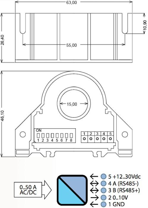 Current transformer RS485 Modbus /slave + 0...10Volt