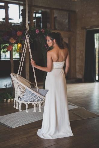 Robe de mariée bustier en cuir blanc Les Mariées Fox - Louise