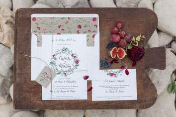 Faire-part de mariage vintage et bordeaux