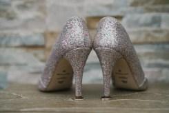 Chaussures pailletées de la mariée