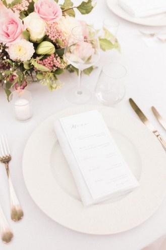 Menu de mariage minimaliste et chic