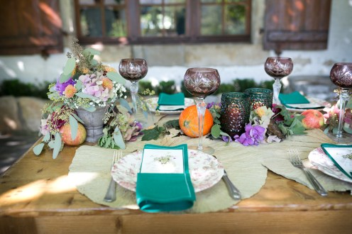 Détail décoration de table d'un banquet