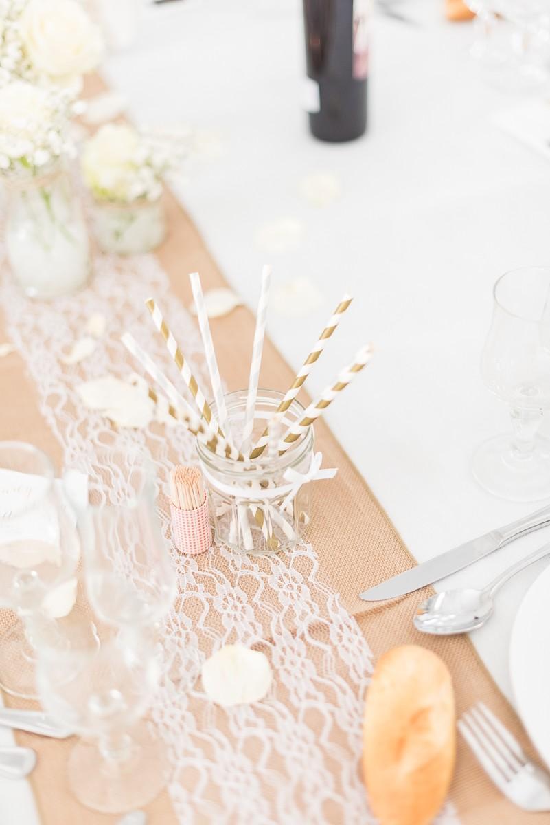 Pailles dorés pour décoration de table