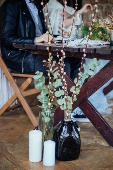 Décoration florale avec du coton