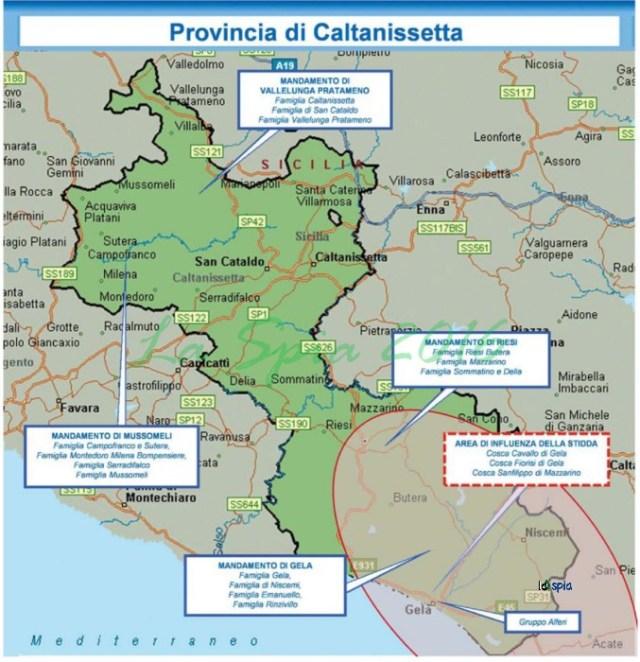 Mappa mafia Provincia Caltanissetta (Dia 2015)
