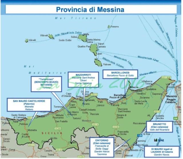 Mappa mafia Provincia Messina (Dia 2015)