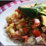 pasta tricolor con camarón