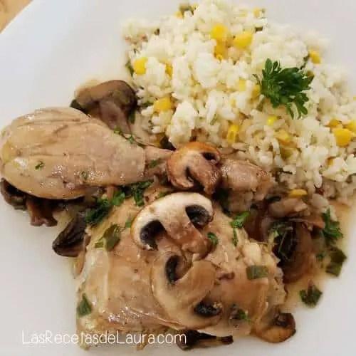 Pollo con champiñones - Las recetas de Laura