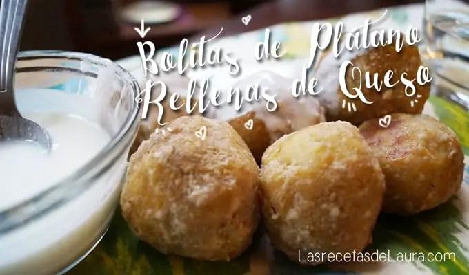 bolitas de plátano rellenas de queso - Las recetas de Laura