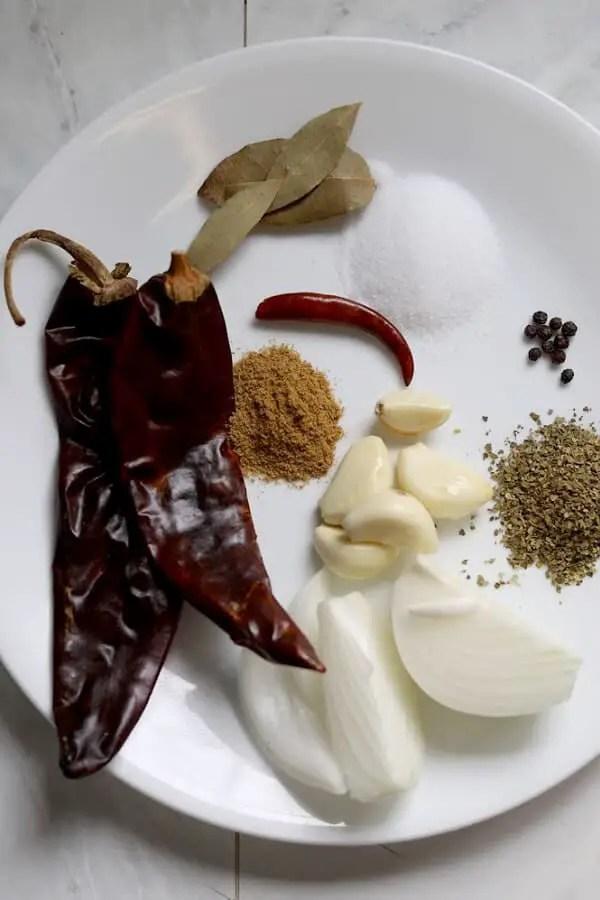Ingredientes para barbacoa mexicana