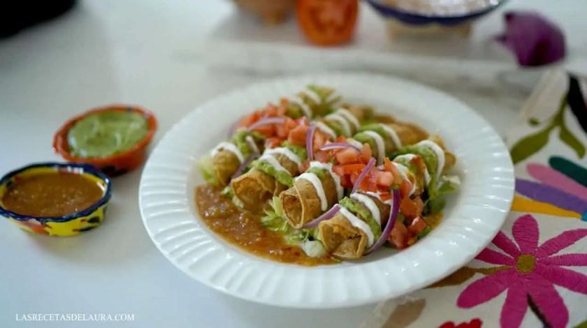 Air fryer flautas with sauce
