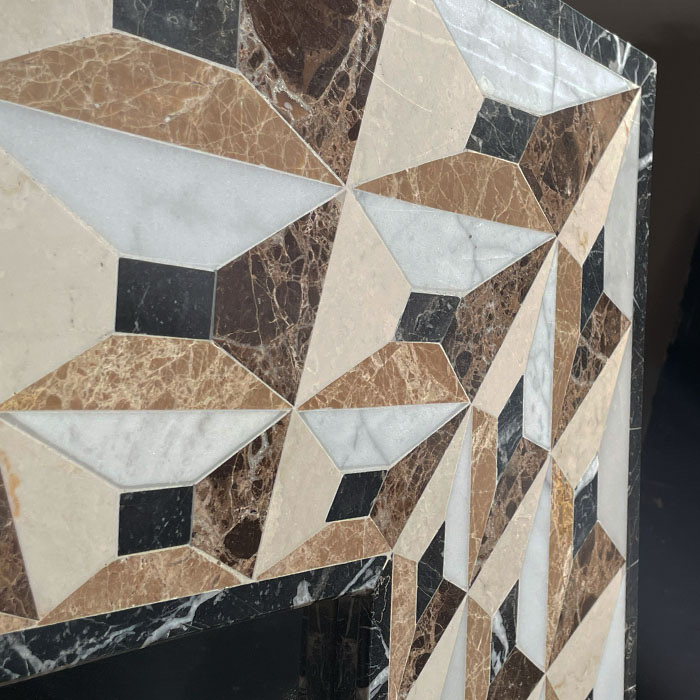 an italian decorative marble mosaic wall mirror