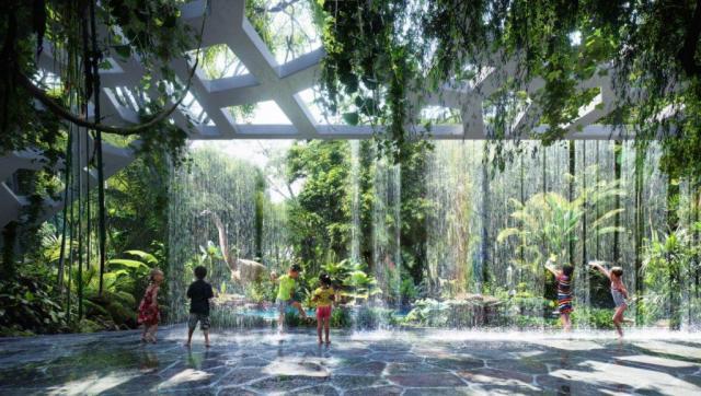 Hotel Dubai foret tropicale chute d'eau