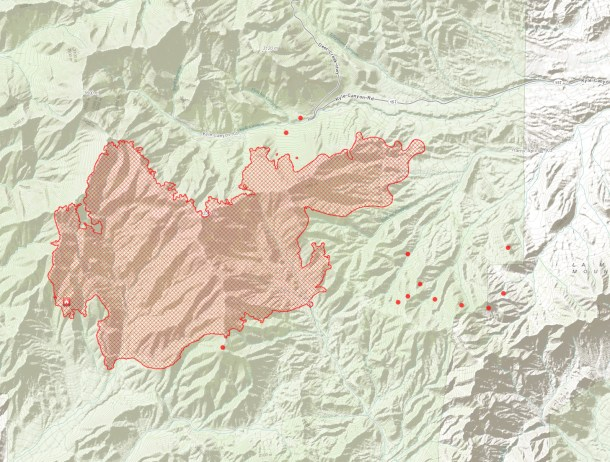 Hot Spot Map Carpenter Fire 1- Mt Charleston July 11 2013 7:15 am PST - Click to view Large Map