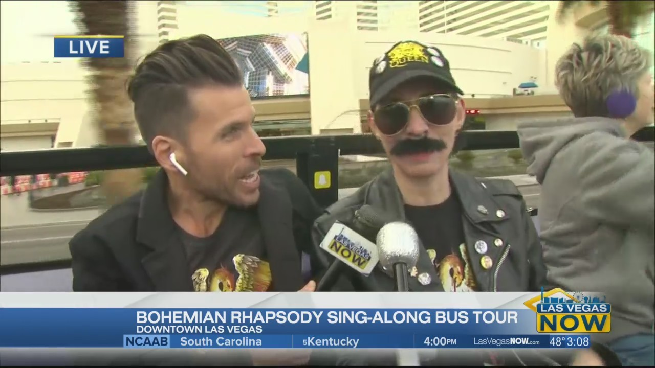 JC hops on the Bohemian Rhapsody sing-along bus tour