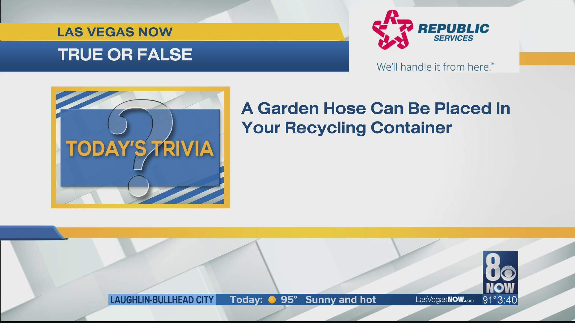 Can a garden hose be placed in the recycling?