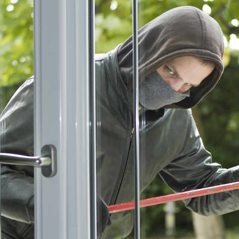 Man Breaking Into Residential Window - Window Unprotected