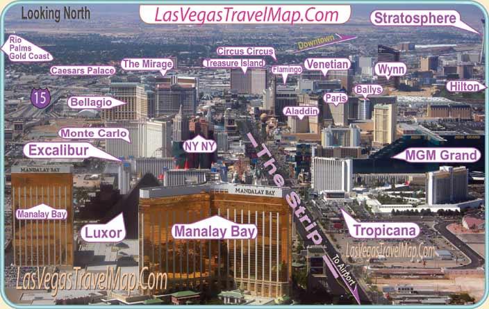 Las Vegas Hotels on The Strip. Las Vegas Image Map