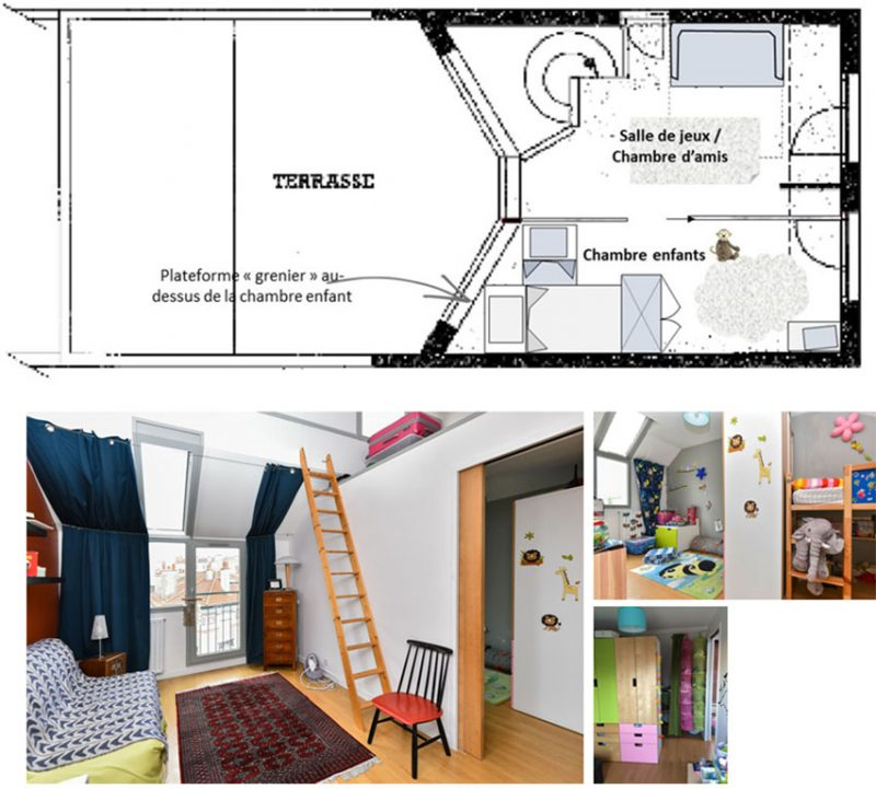 APRES (2015) : changement de destination des pièces : L'espace parents devient une salle de jeux / chambre d'amis La chambre bébé devient une chambre pour les 2 enfants