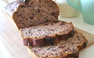 CAKE À LA BANANE ET AU CHOCOLAT sans gluten, sans lait, sans sucre, sans levure, sans oeufs