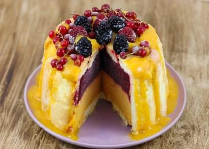 Charlotte glacée mangue et fruits rouges