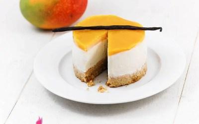 Cheesecake vanille mangue sans gluten, faible ou sans lactose