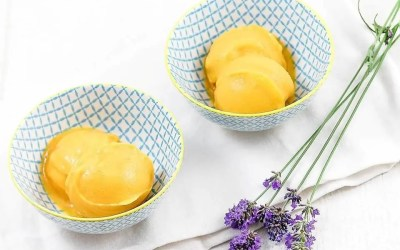 Sorbet mangue sans gluten, avec ou sans sucre, sans oeuf