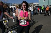 Louise at the finish of the Tunbridge Wells half marathon