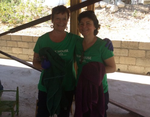 Brenda and Nurse Jo who inspected all the children's skin for disease, washed 650 children's feet and dressed wounds