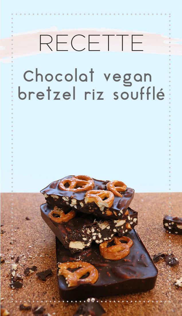 Retrouvez ma recette super facile de chocolat vegan au bretzel et riz soufflé !