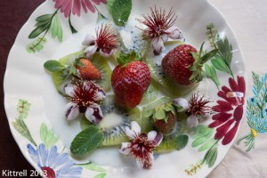 Kiwi, Strawberry and Pineapple Guava Blossom Salad
