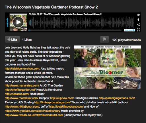 Kaye on The The Wisconsin Vegetable Gardener