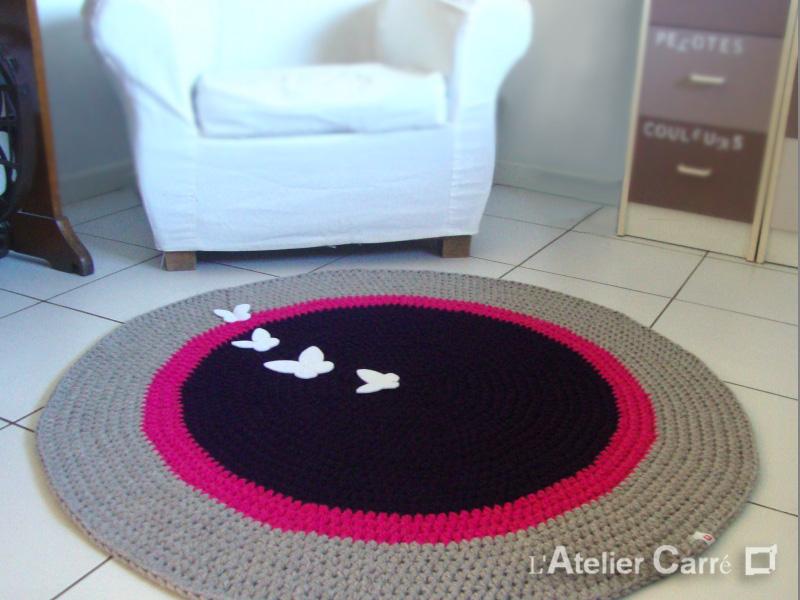 tapis rond 3 couleurs en laine personnalisable