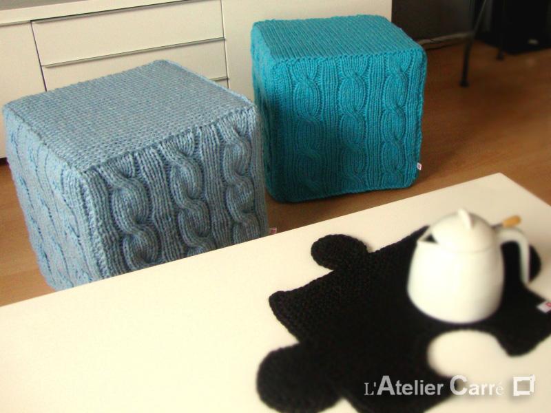 housse pour pouf carré en tricot torsadé coloris laine au choix