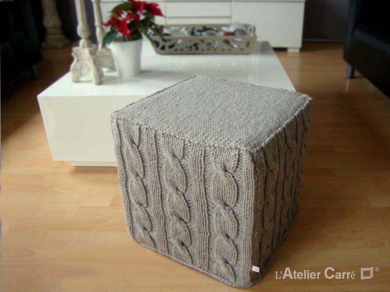 housse pour pouf carre en tricot torsade