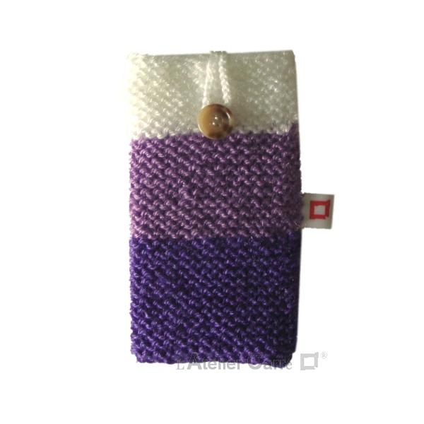 étui téléphone en laine tricolore violet
