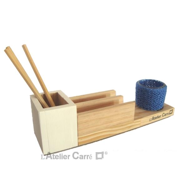 organiseur-bureau-bois-crochet-bleu