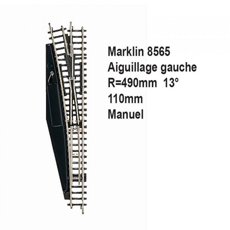 Rail aiguillage gauche R 490, 110mm, 13 degrès manuel